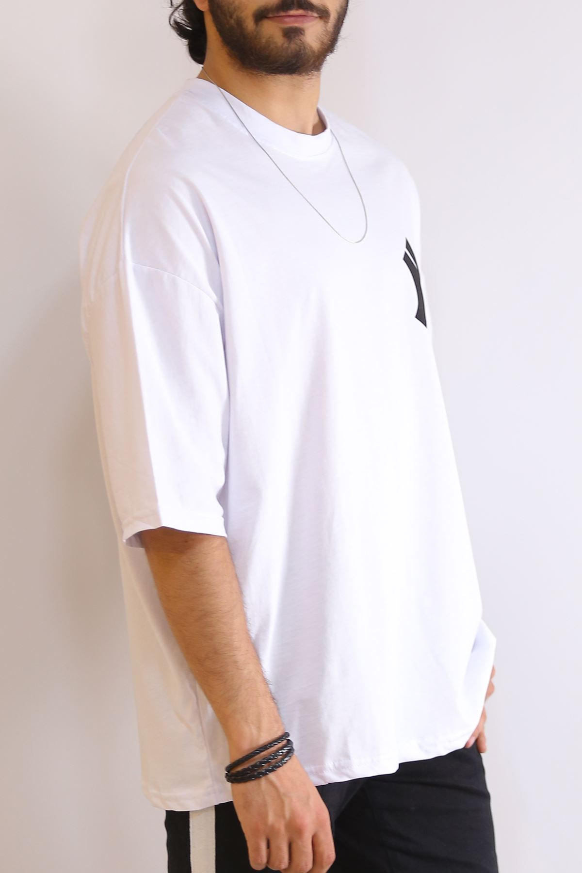 Arkası Baskılı Tişört Beyaz - 6201.1377.