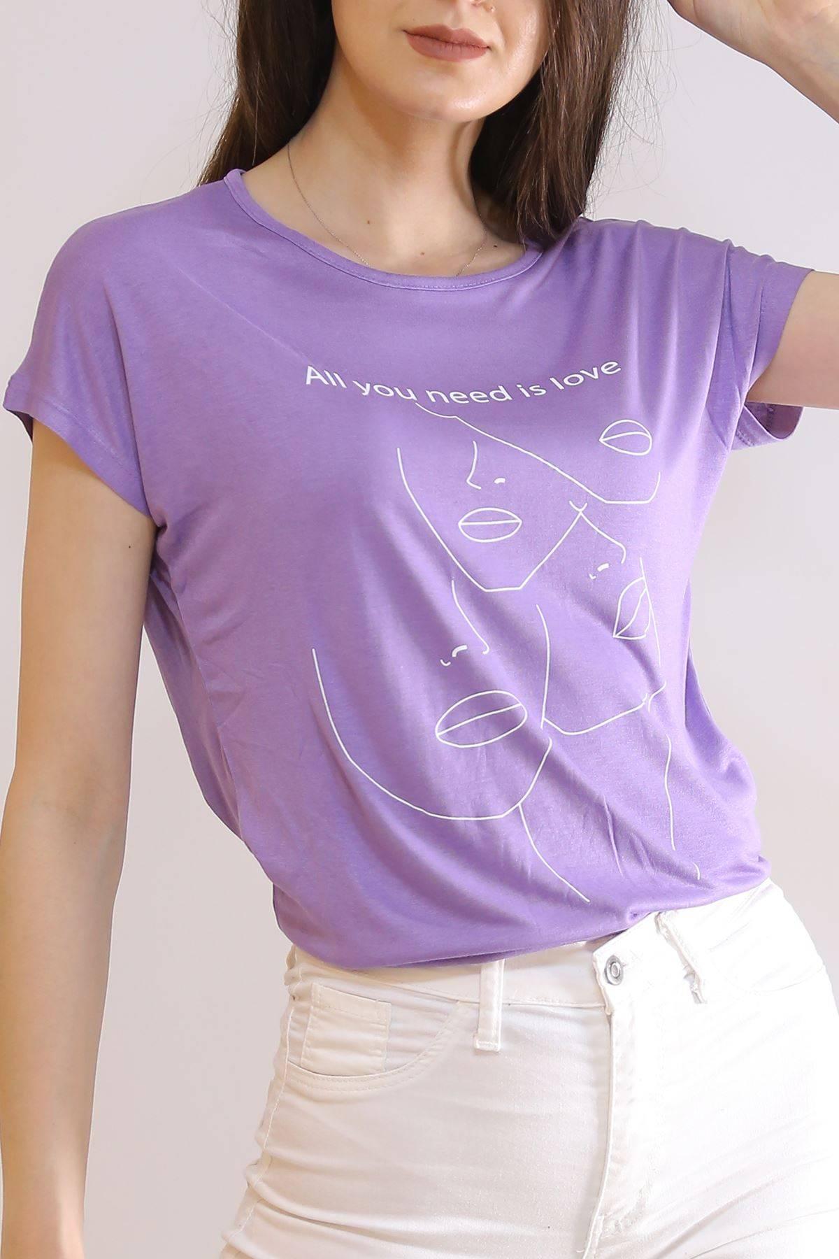 Face Model Tişört Lila - 20083.200.