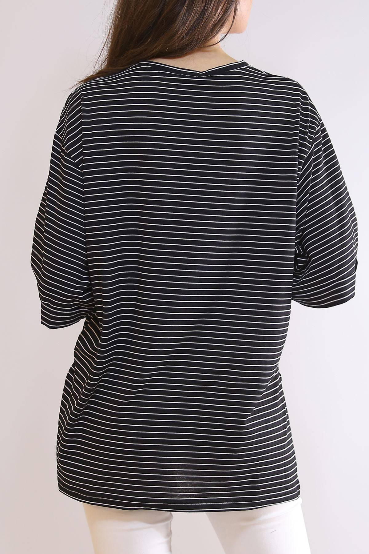 Çizgili Salaş Tişört Siyah - 2684.105.