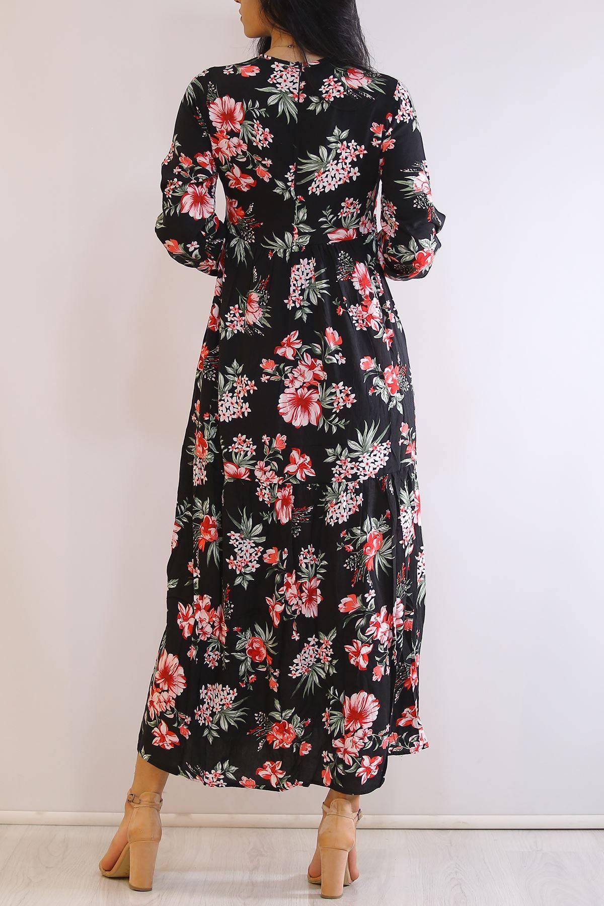 Desenli Sırt Fermuarlı Elbise Çiçeklisiyah - 3016.105.