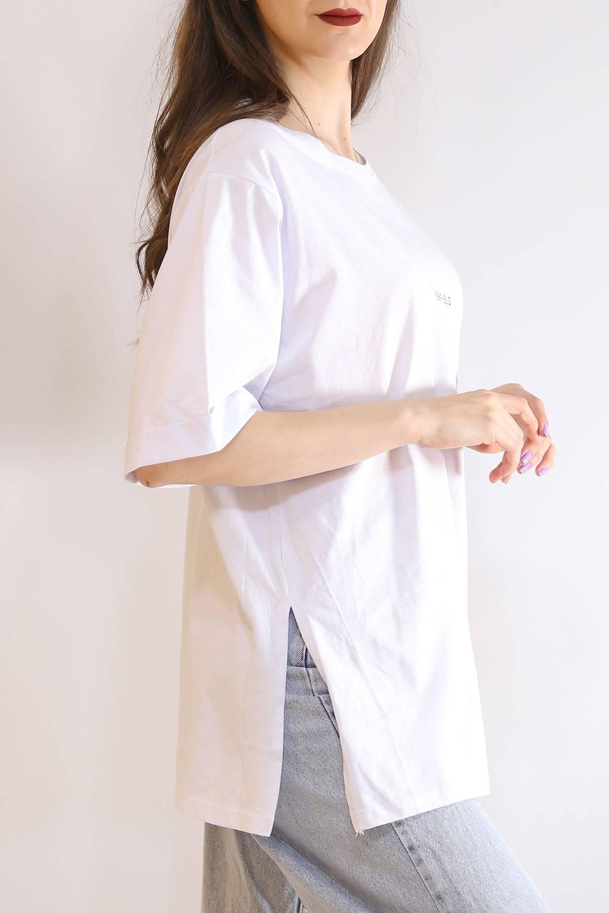 Baskılı Yırtmaçlı Tişört Beyaz - 3151.105.