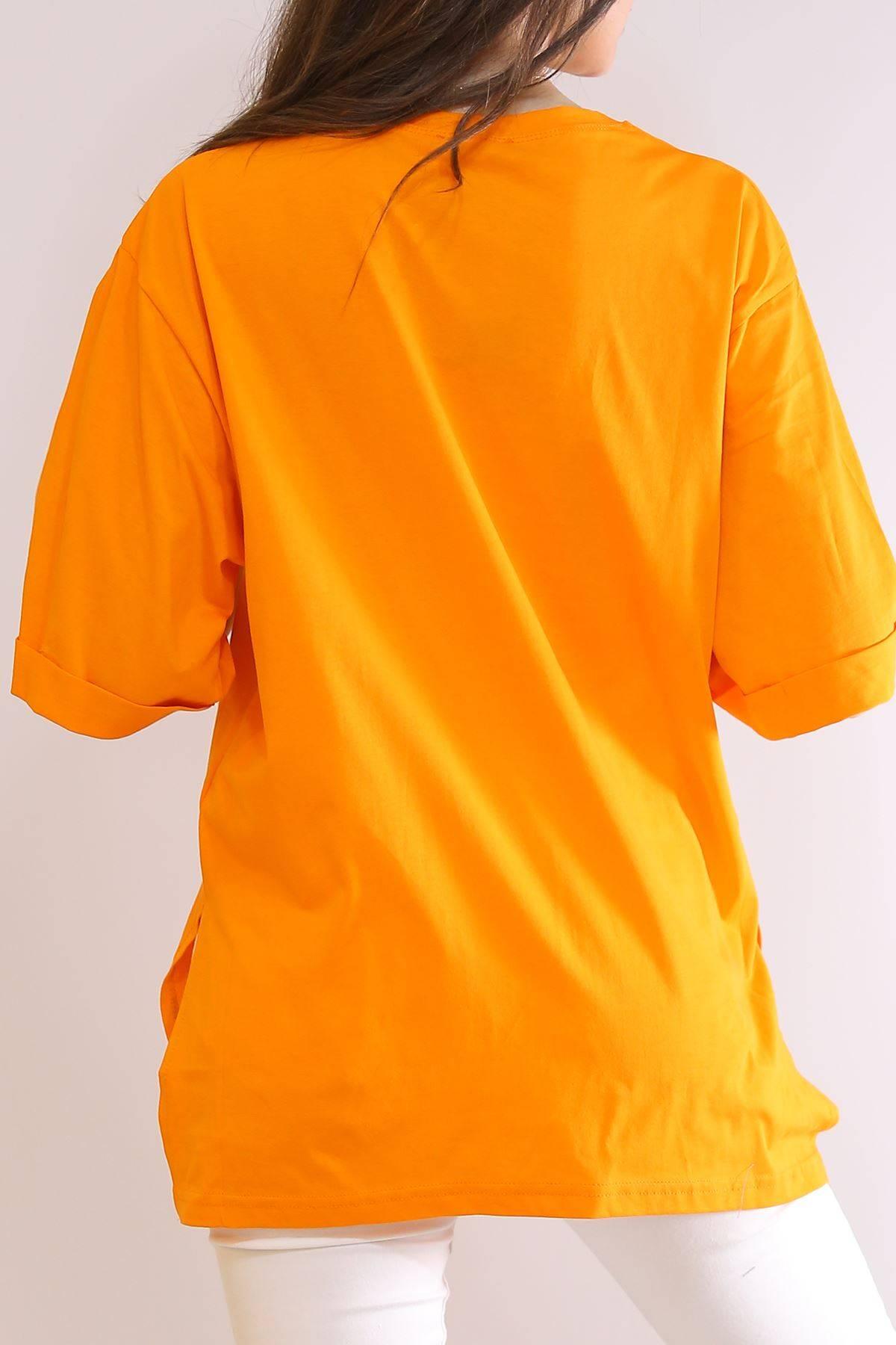 Baskılı Yırtmaçlı Tişört Oranj - 3151.105.