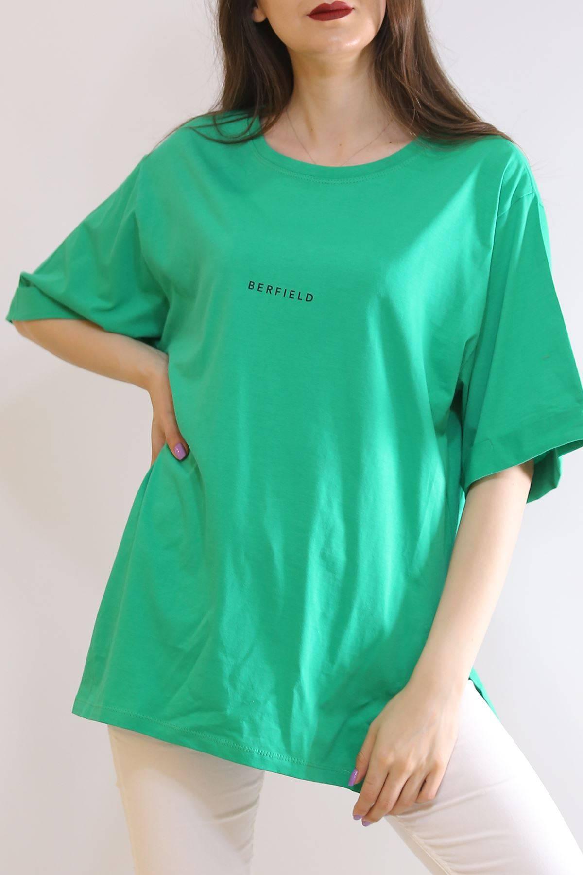Baskılı Yırtmaçlı Tişört Yeşil - 3151.105.