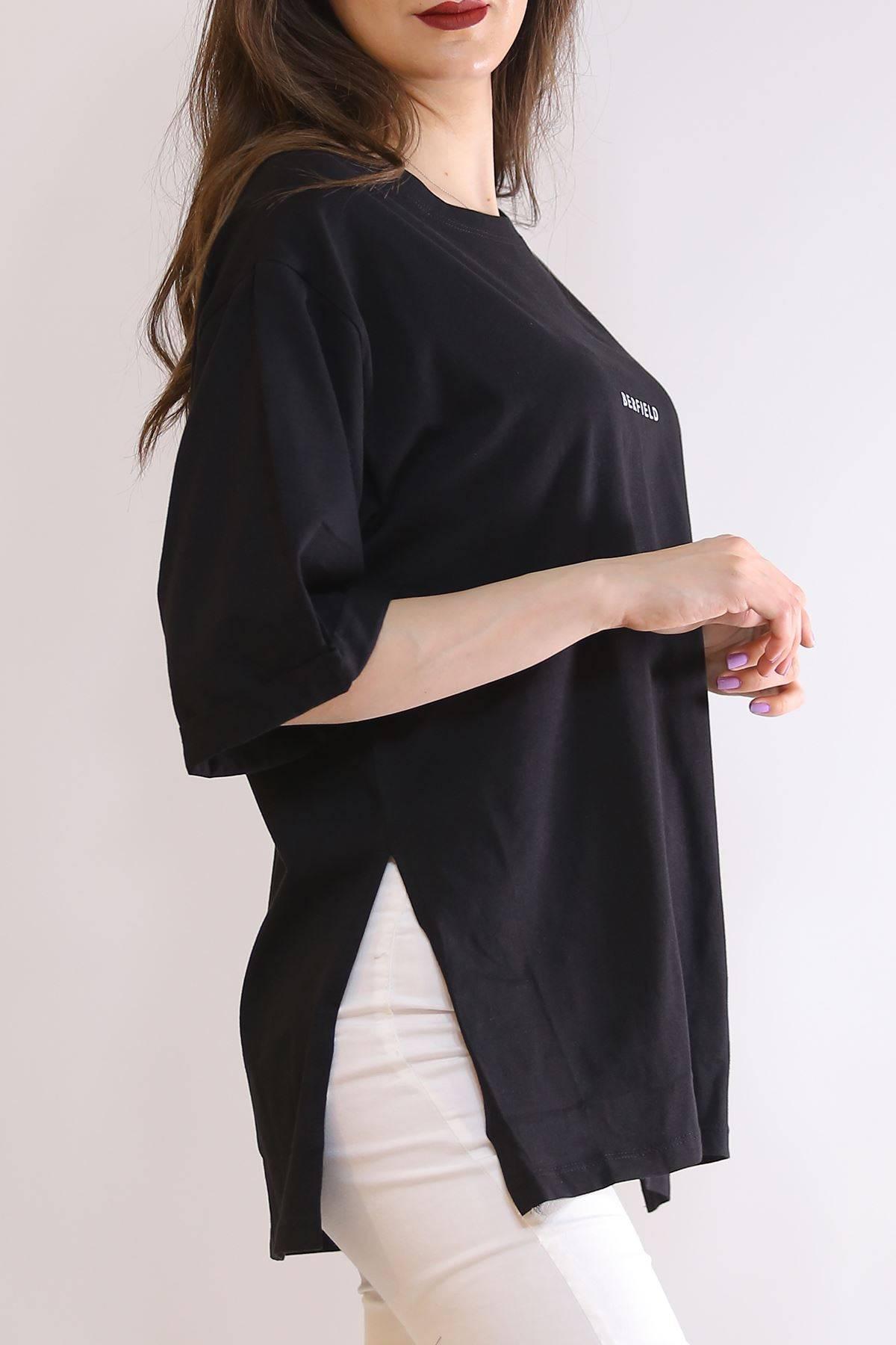Baskılı Yırtmaçlı Tişört Siyah - 3151.105.
