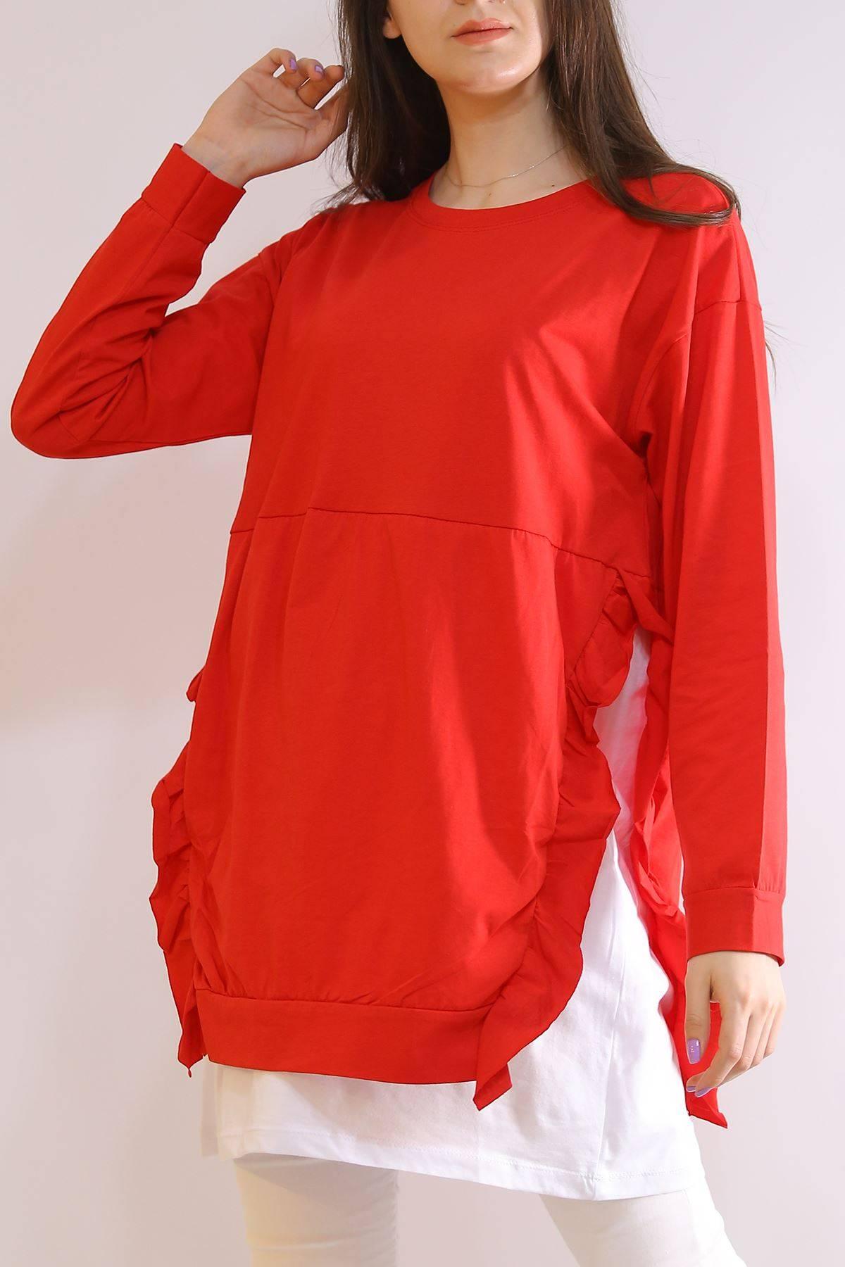 Fırfırlı Garnili Tunik Kırmızı - 3224.105.