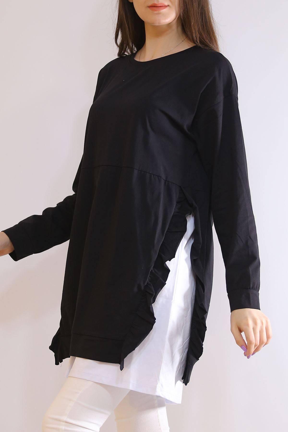 Fırfırlı Garnili Tunik Siyah - 3224.105.