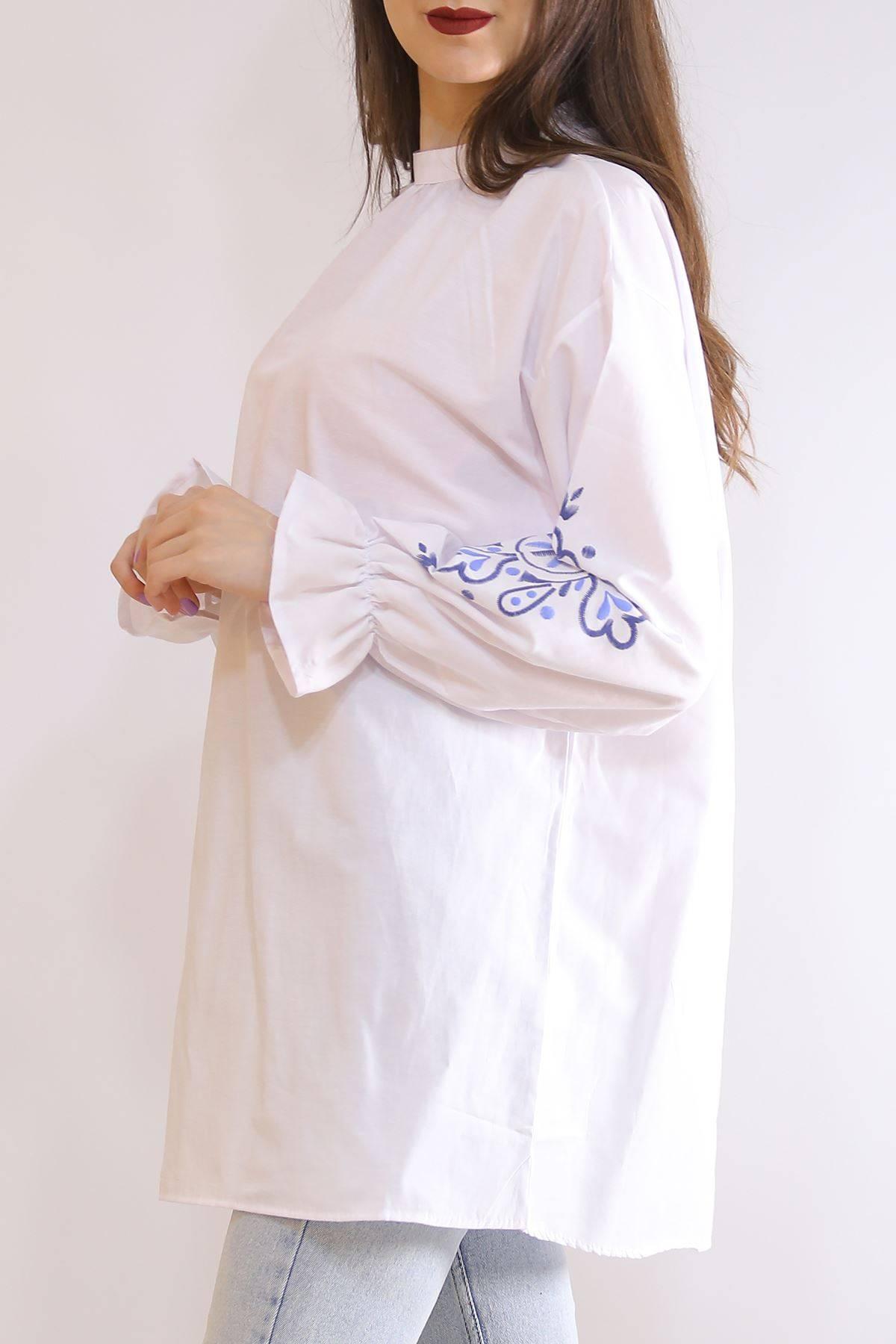 Kolları Çiçekli Tunik Beyaz - 3232.105.