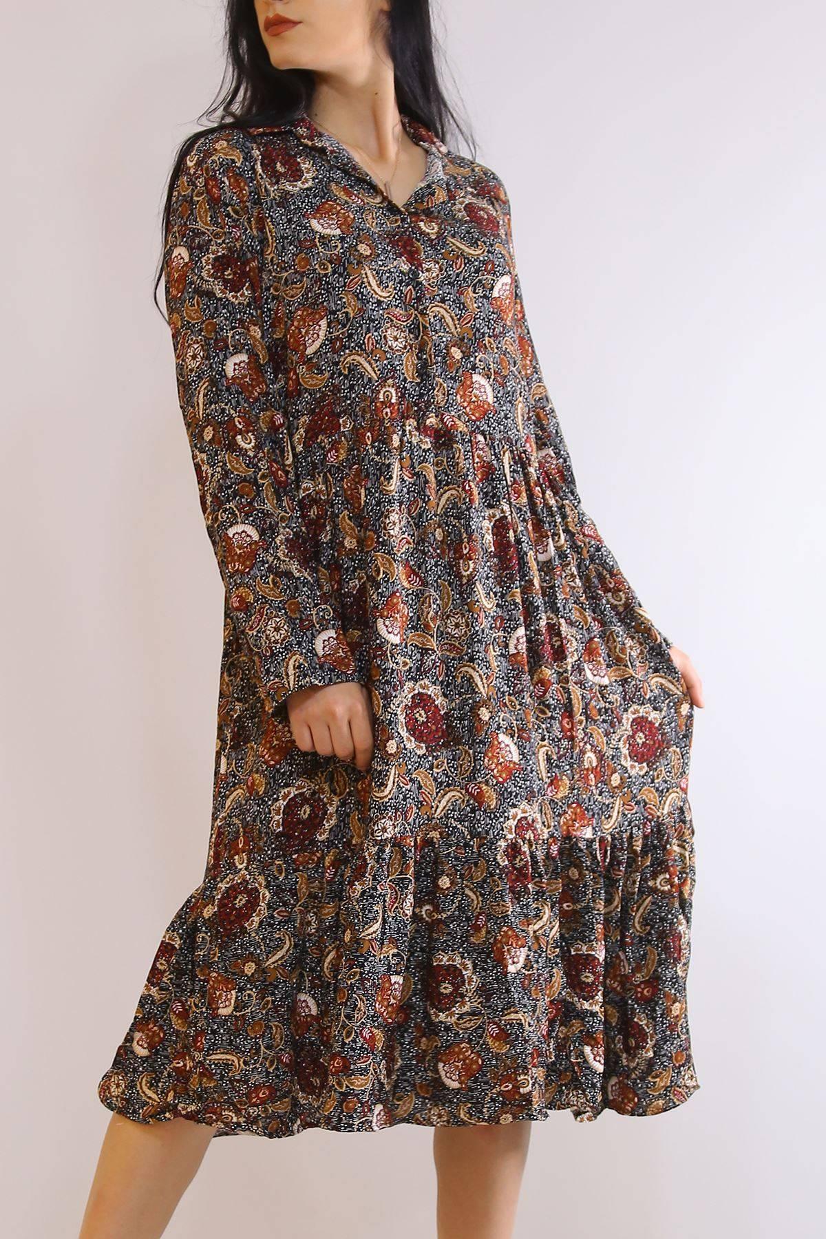 Katlama Kol Elbise Siyahbordo - 4807.701.
