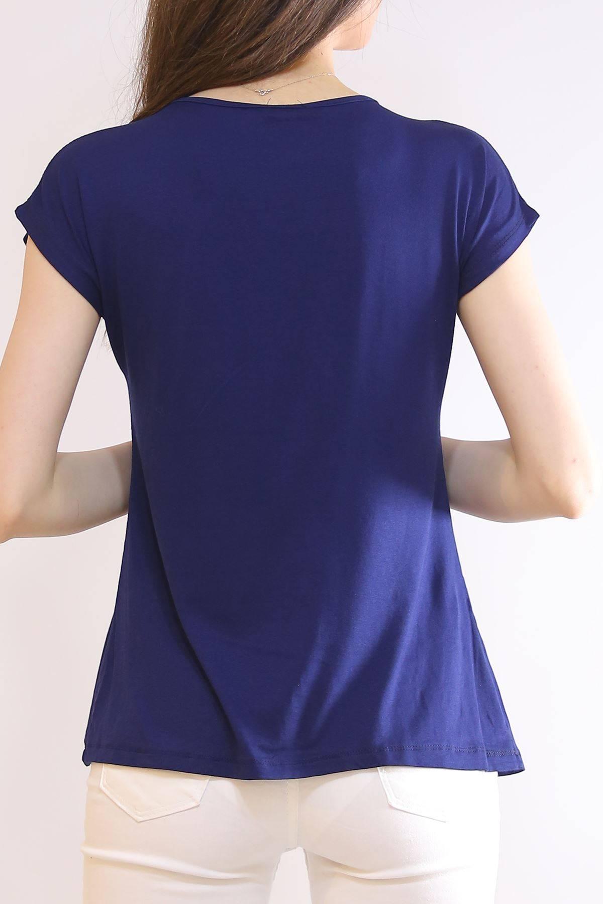 Yarasa Kol Pullu Tişört Lacivert - 5955.599.