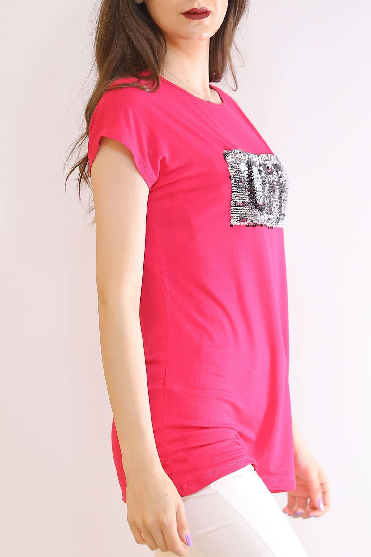 Yarasa Kol Pullu Tişört Fuşya - 5955.599.