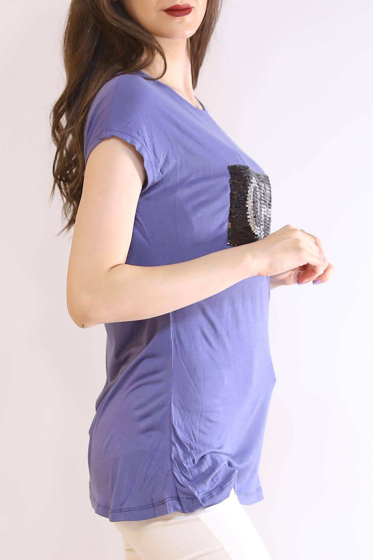 Yarasa Kol Pullu Tişört İndigo - 5955.599.