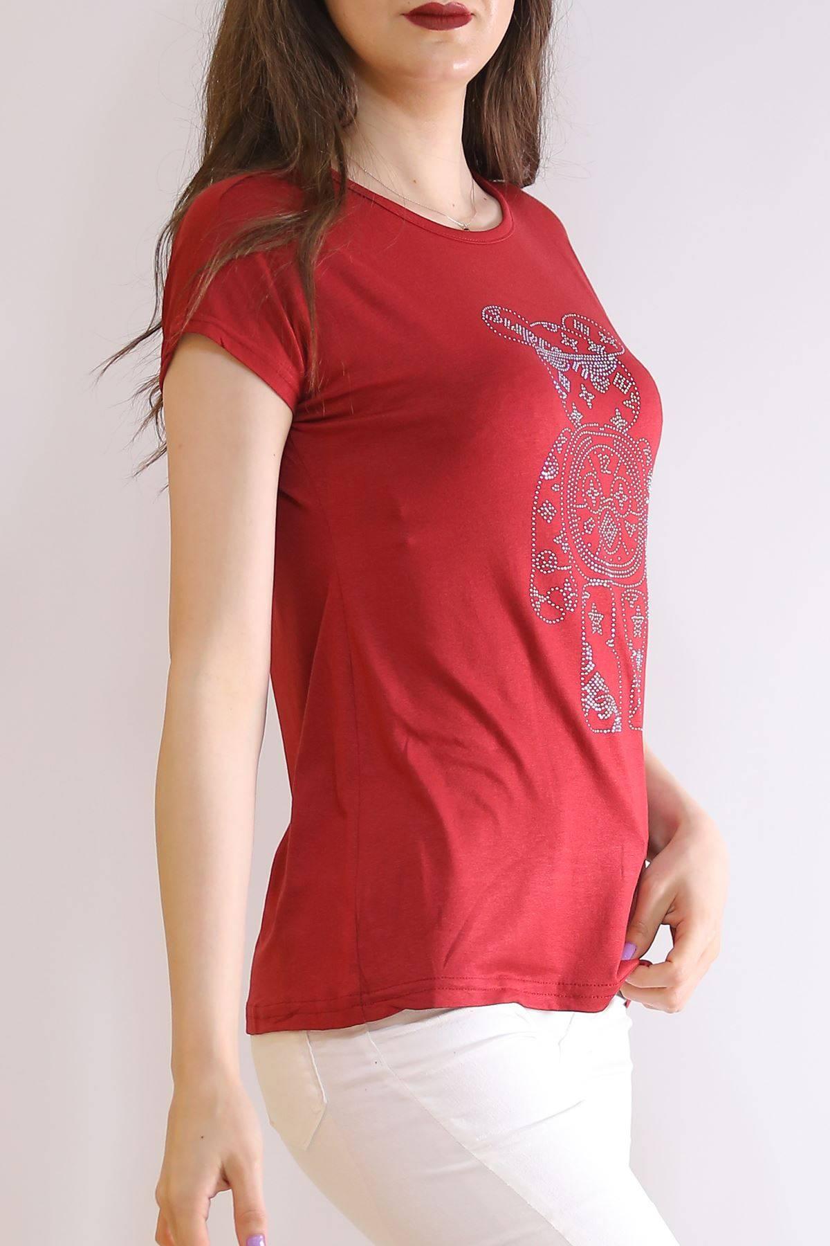İnci Baskılı Tişört Bordo - 6518.599.