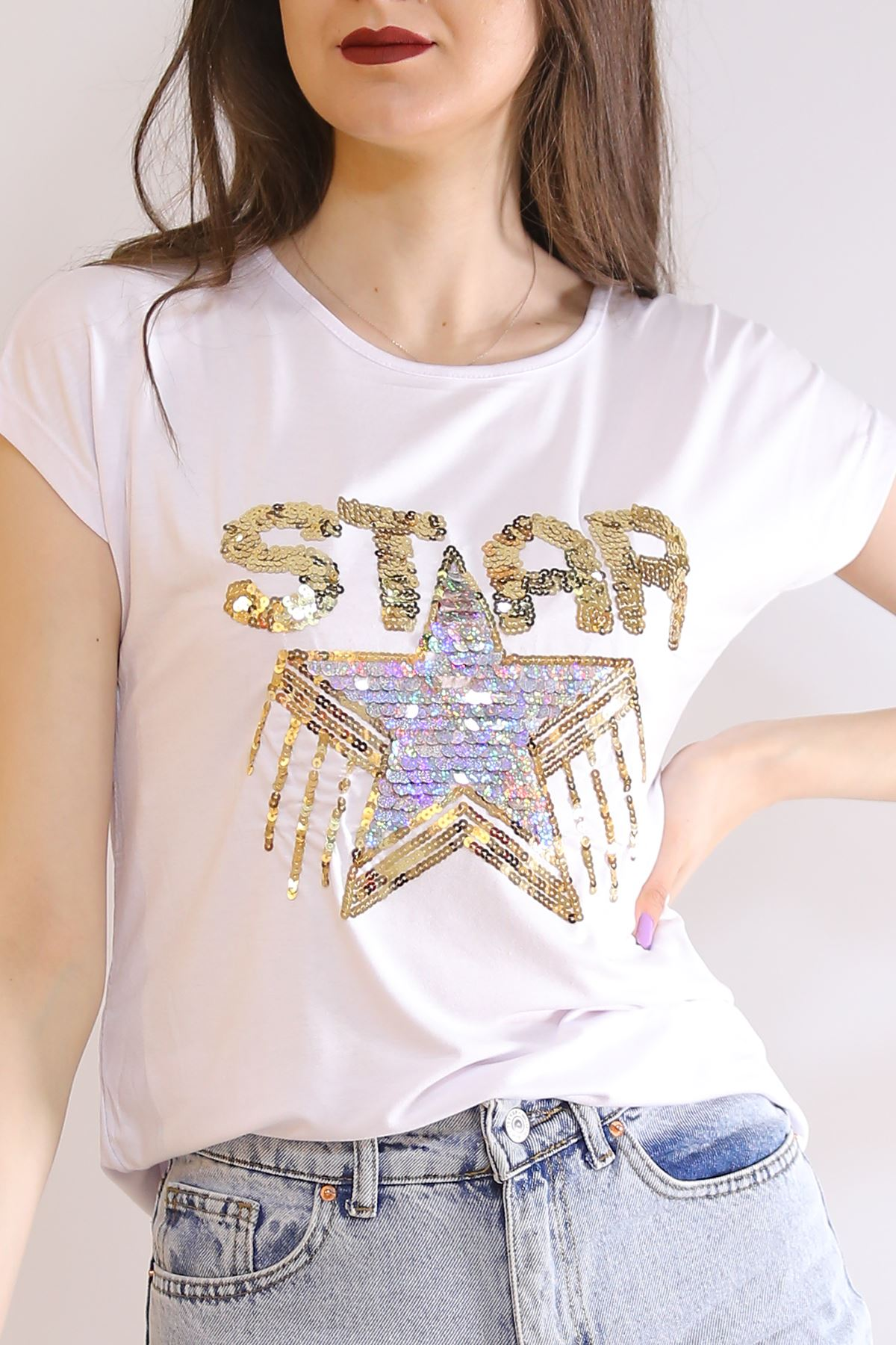 Star Baskı Tişört Beyaz - 6522.599.