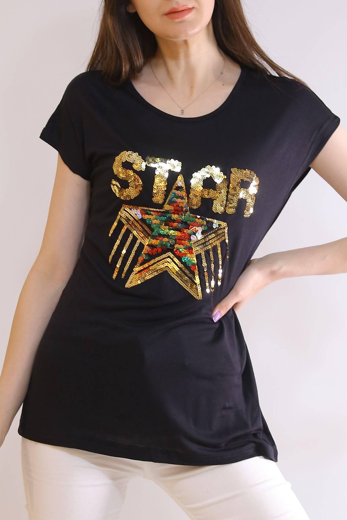 Star Baskı Tişört Siyah - 6522.599.