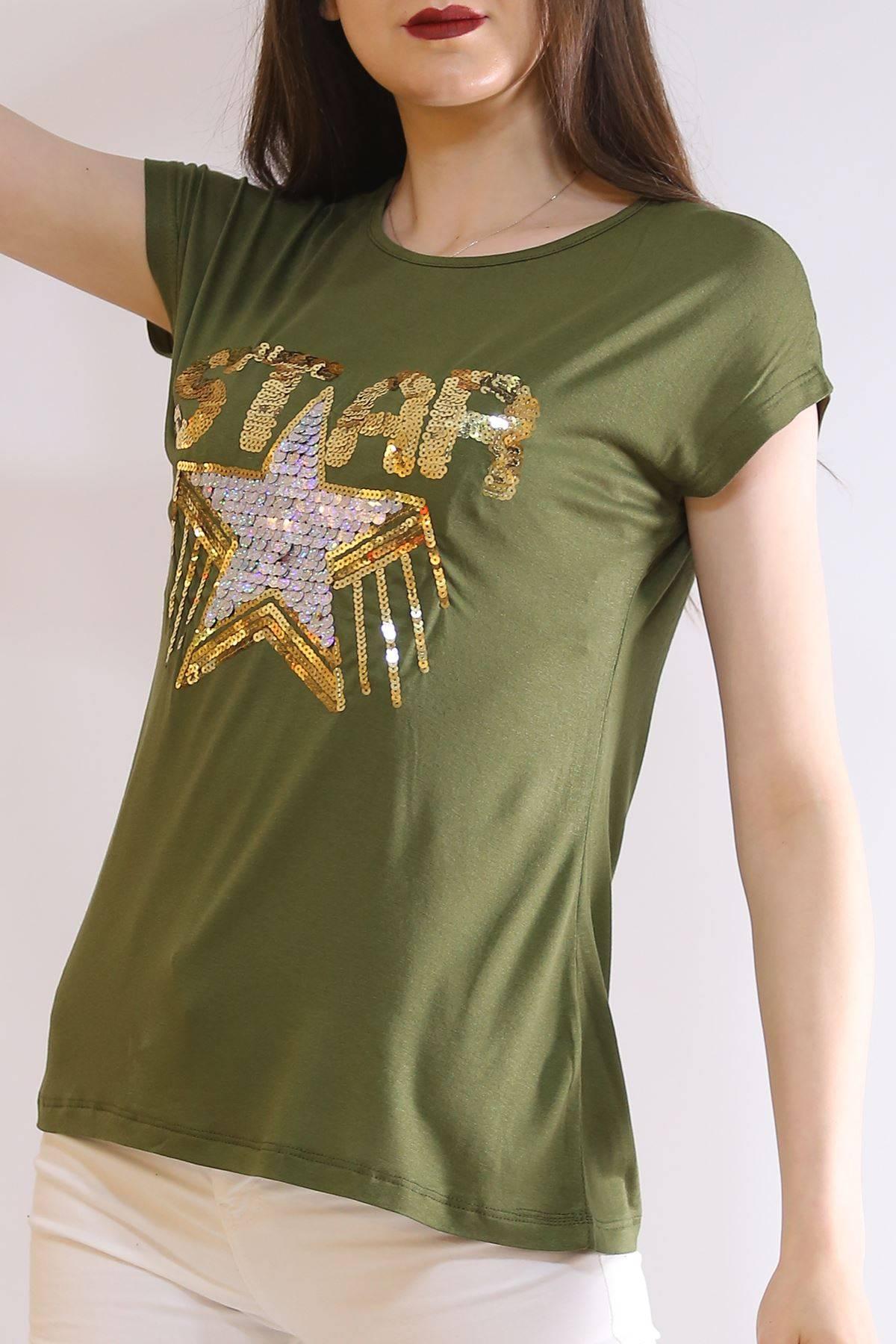 Star Baskı Tişört Haki - 6522.599.
