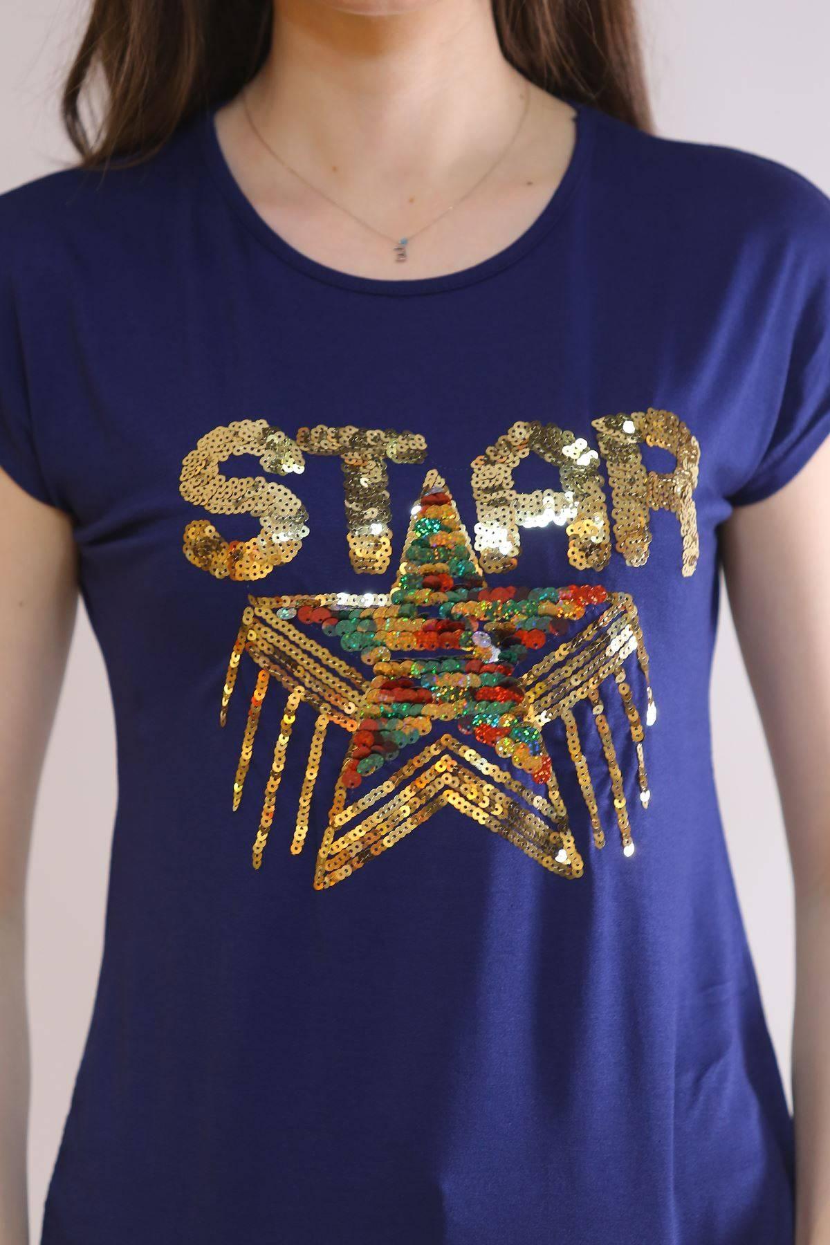 Star Baskı Tişört Lacivert - 6522.599.