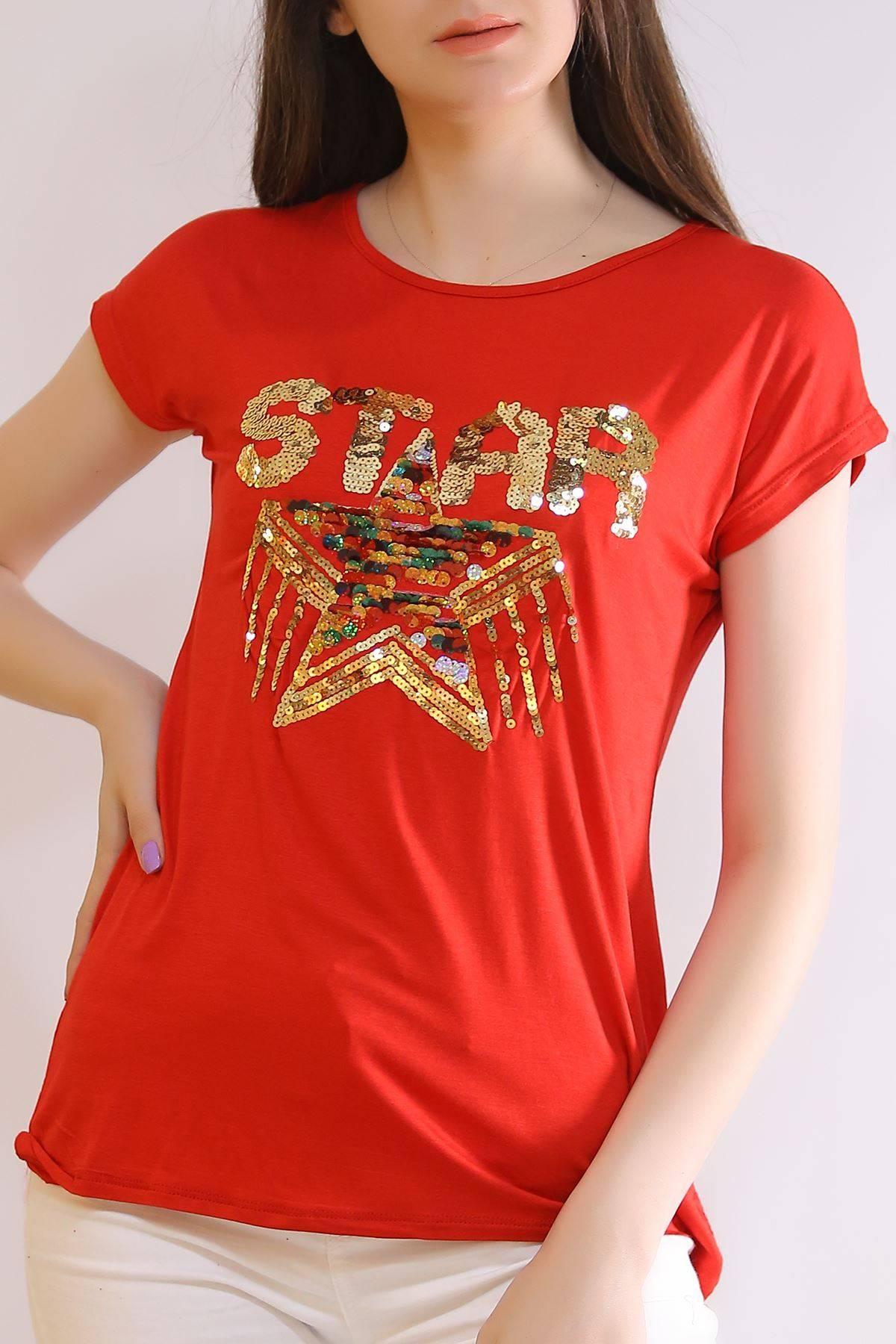 Star Baskı Tişört Kırmızı - 6522.599.