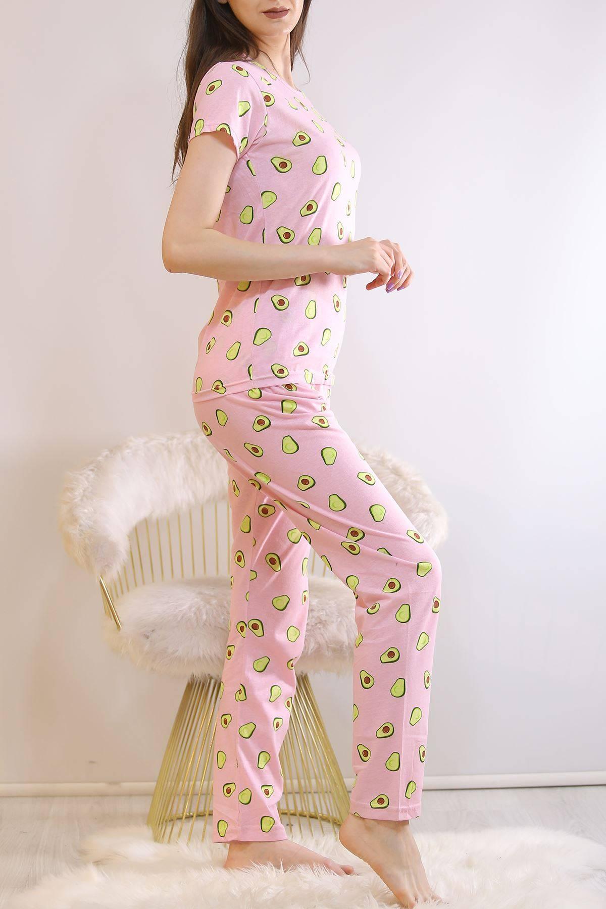 Desenli Pijama Takımı Pembeyeşil - 130.1287.
