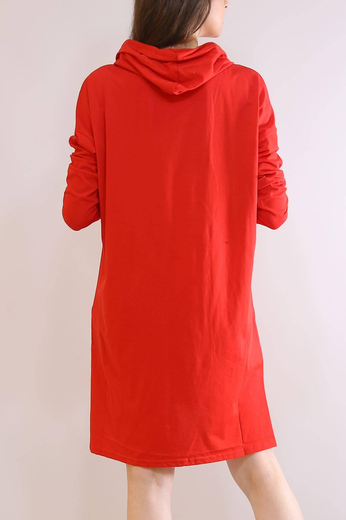 Kapüşonlu Penye Tunik Kırmızı - 2896.105.