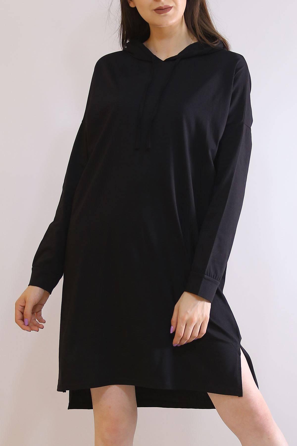 Kapüşonlu Penye Tunik Siyah - 2896.105.