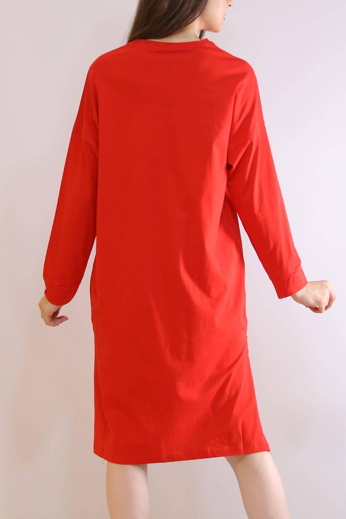 Baskılı Yırtmaçlı Tunik Kırmızı - 2958.105.