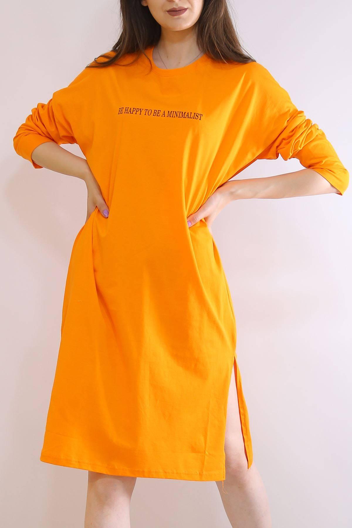 Baskılı Yırtmaçlı Tunik Oranj - 2958.105.