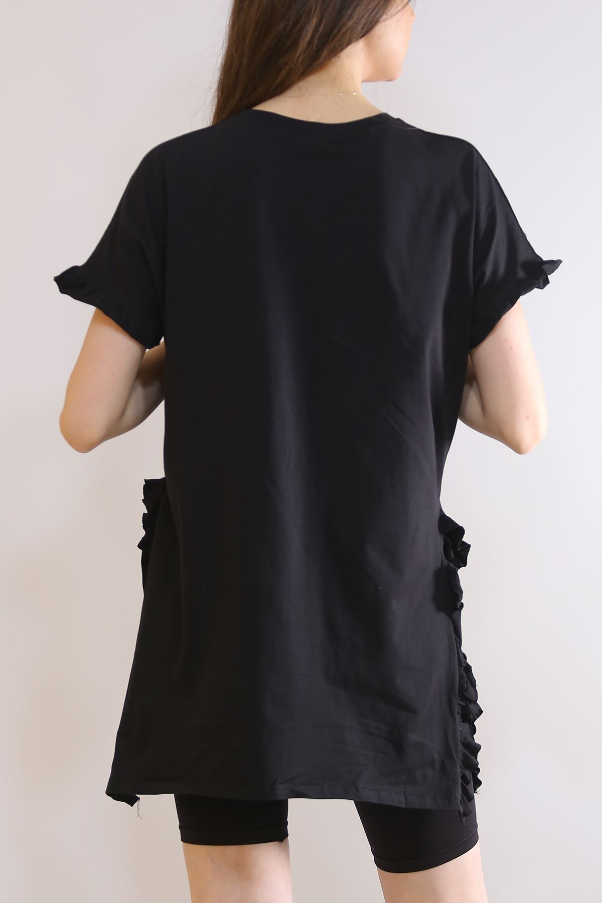 Altı Fırfırlı Tişört Siyah - 2984.105.