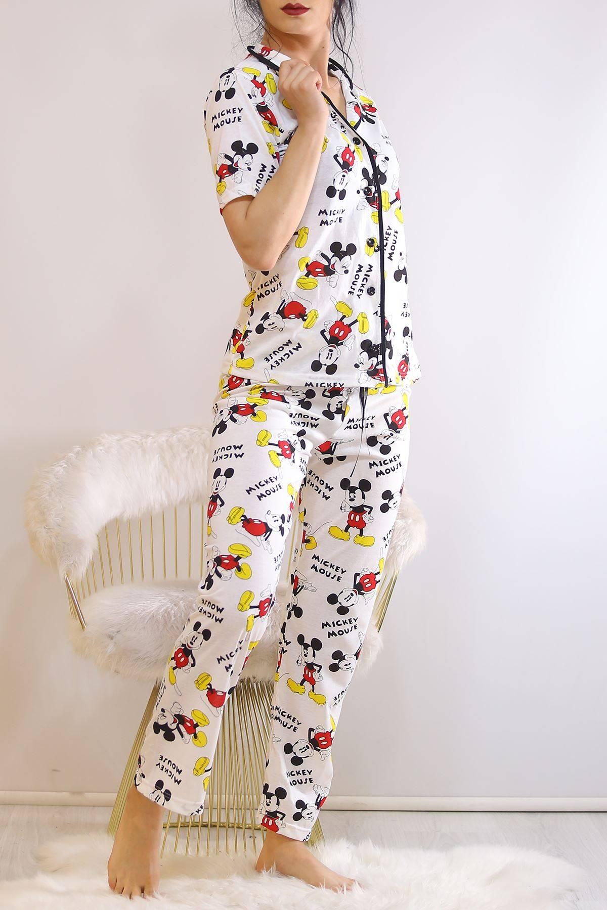 Düğmeli Pijama Takımı Desenlibeyaz - 4782.102.