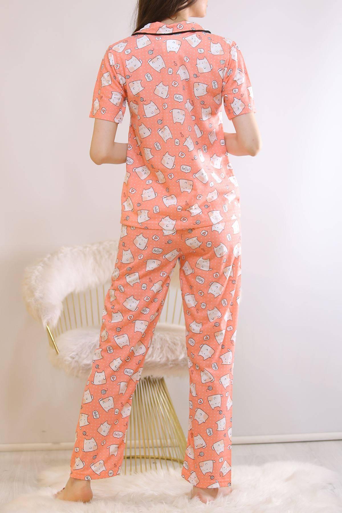Düğmeli Pijama Takımı Koyupudra - 4782.102.