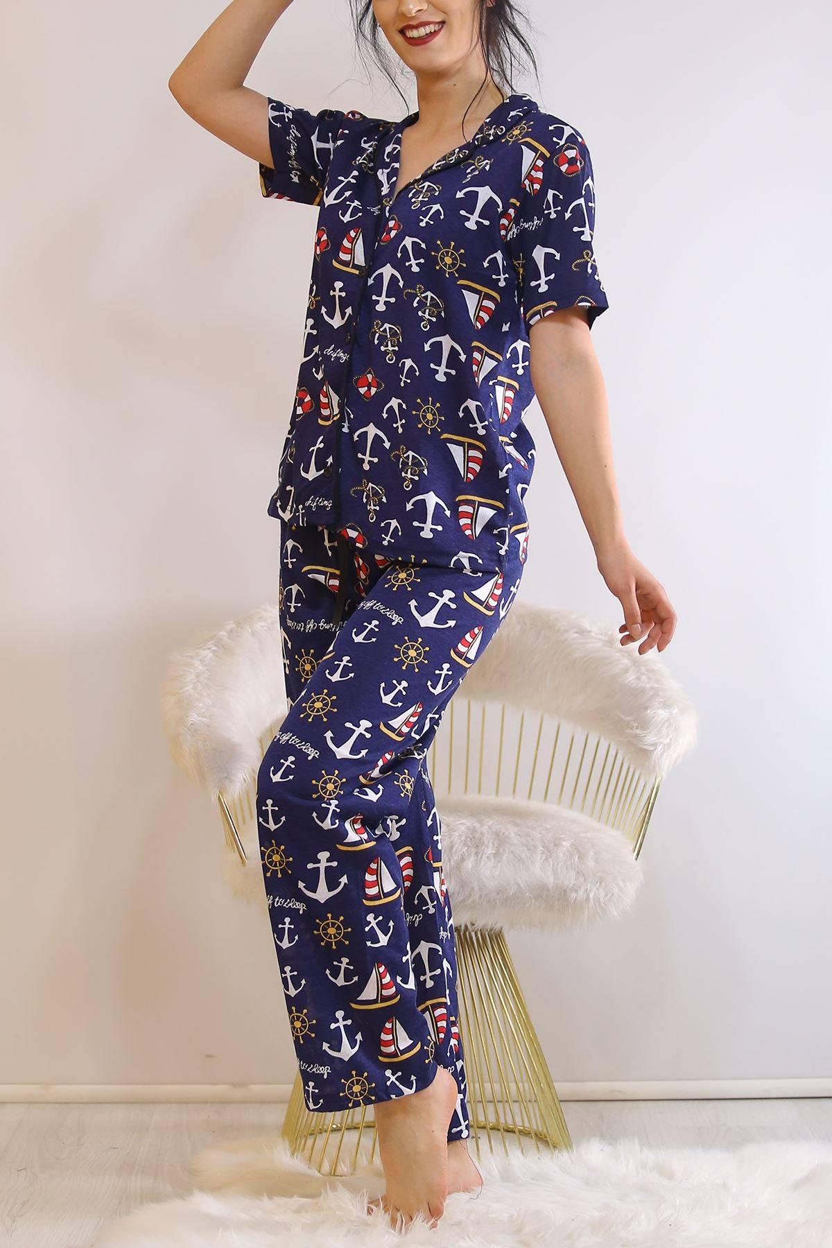 Düğmeli Pijama Takımı Lacidesenli - 4782.102.