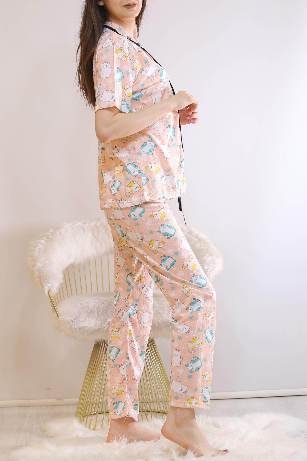 Düğmeli Pijama Takımı Pudrayeşil - 4782.102.