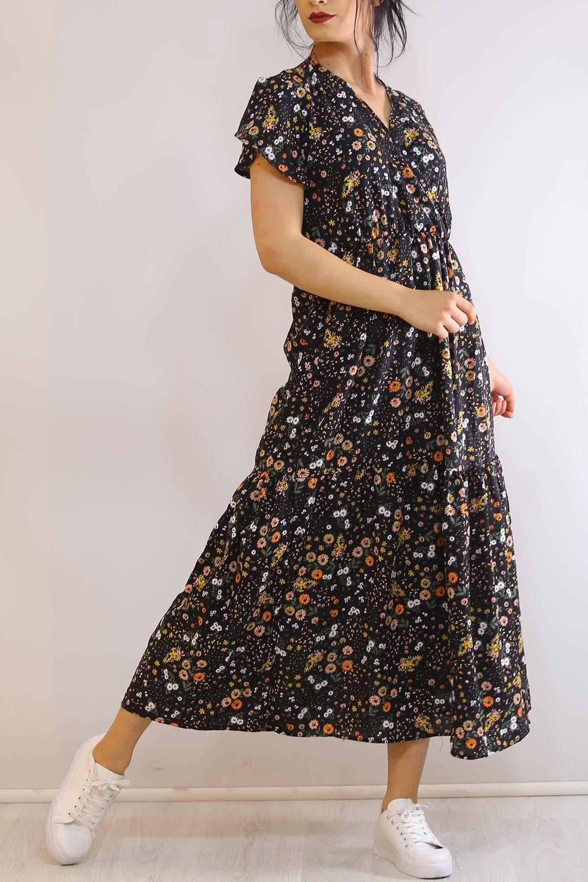 Kruvaze Yaka Elbise Çiçekdesenli - 5372.701.