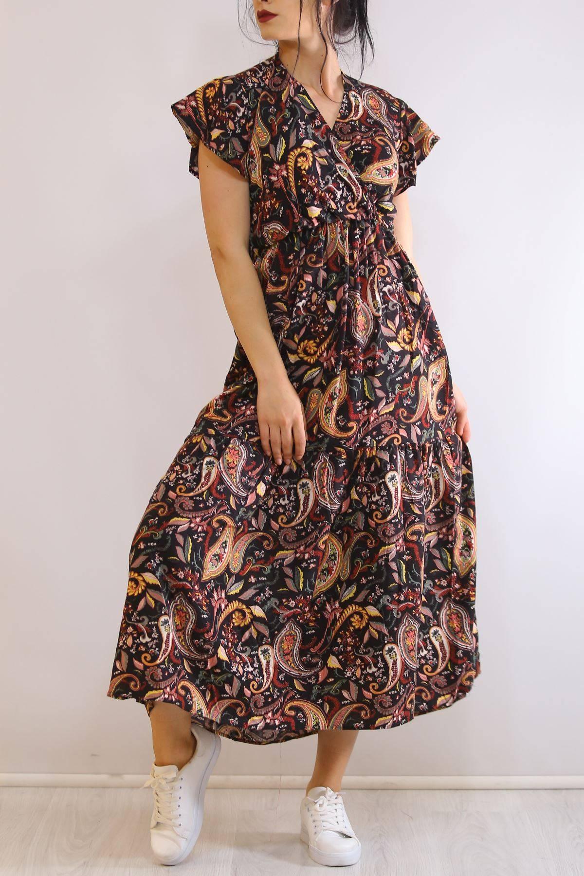 Kruvaze Yaka Elbise Siyahdesenli - 5372.701.