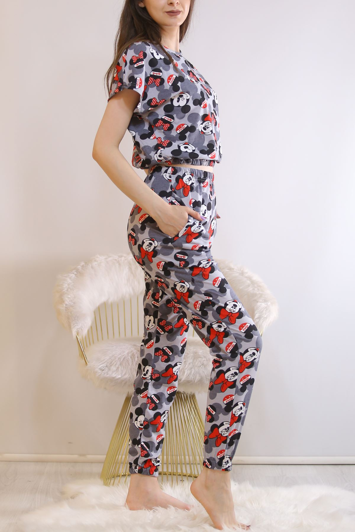 Crop Pijama Takımı Fümesiyah - 5992.1059.