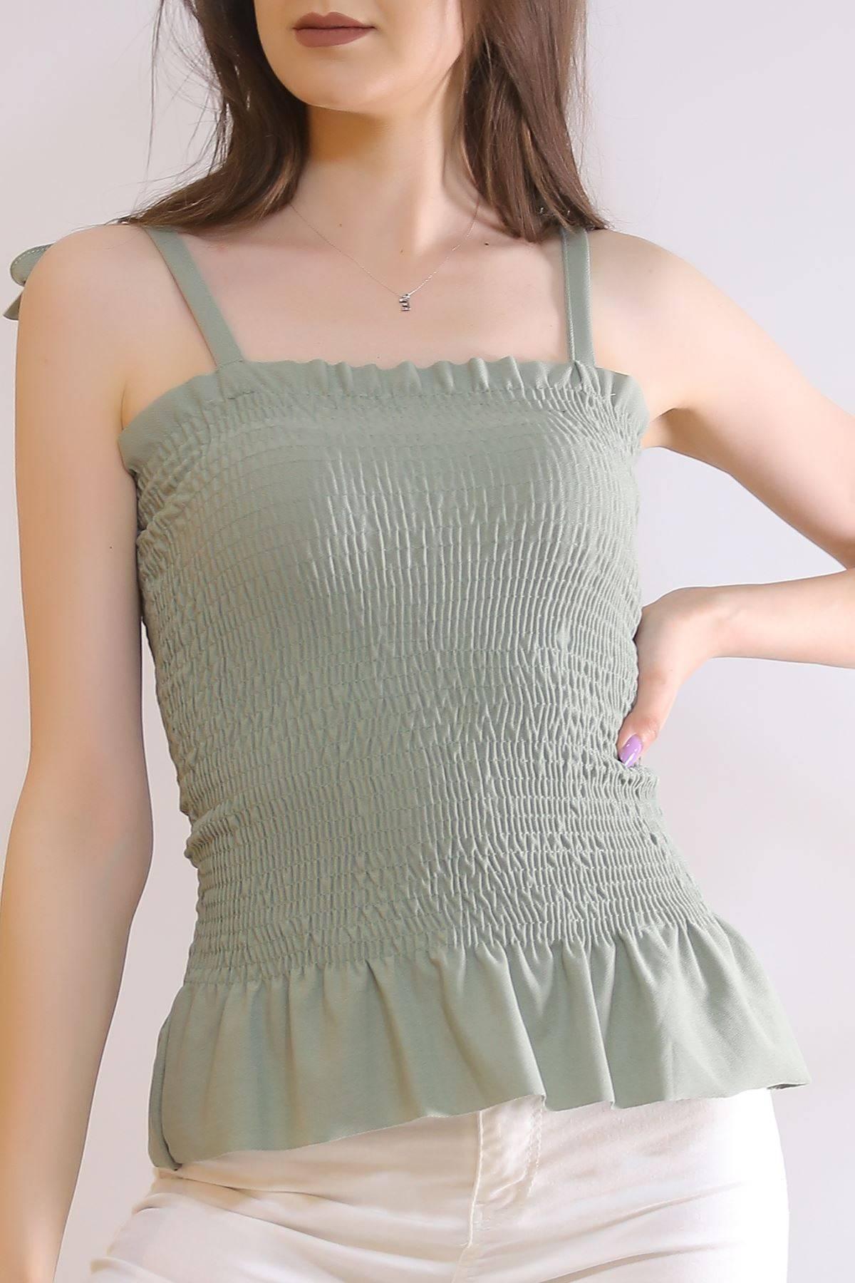 Askılı Büzgülü Bluz Pastelyeşil - 6221.224.