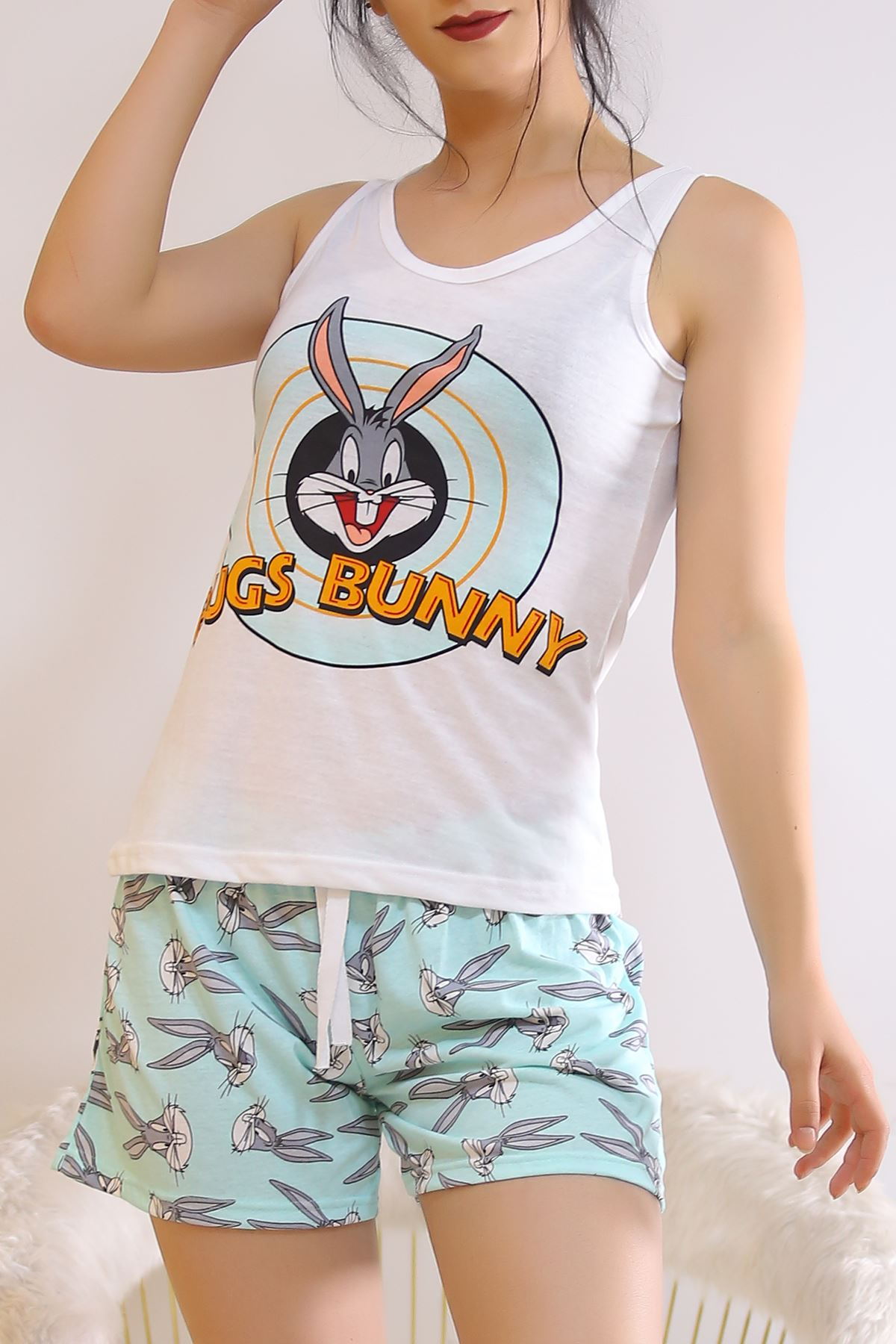Şortlu Pijama Takımı Beyazmint - 6511.1247.