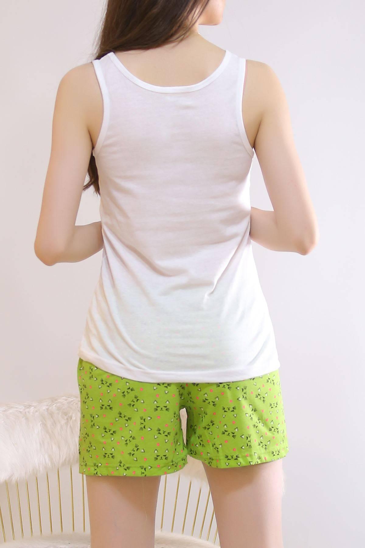 Şortlu Pijama Takımı Beyazyeşil - 6511.1247.