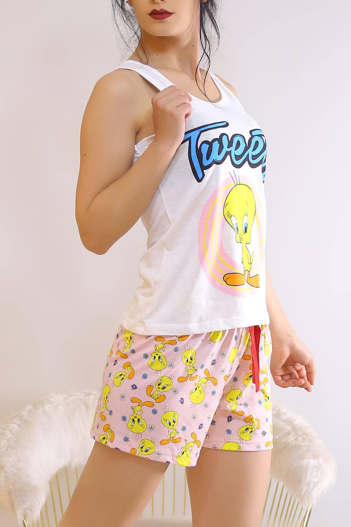 Şortlu Pijama Takımı Beyazpembe - 6511.1247.