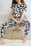 Crop Pijama Takımı Siyahbeyaz - 5992.1059.